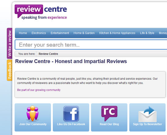 Find crowdsourced reviews at Review Centre