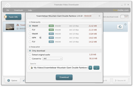 Freemake Video Downloader lets you download from YouTube, Vimeo and more