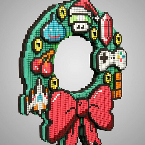 8-Bit LED Holiday Wreath is festively geeky