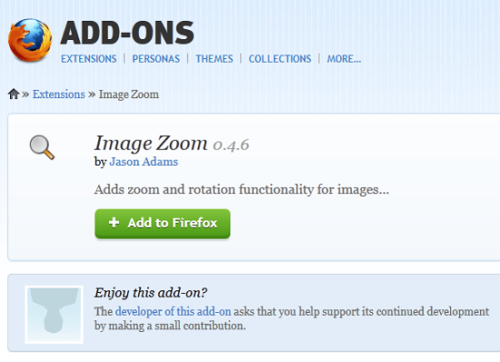 Use Image Zoom to rotate and zoom images within Firefox