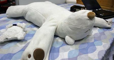 Robotic bear pillow helps stop snorers