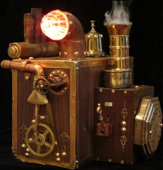 Steampunk external hard drive enclosure