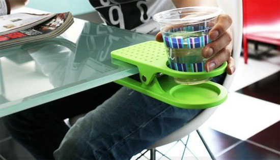 Cup Holder Clip helps prevent desktop spills