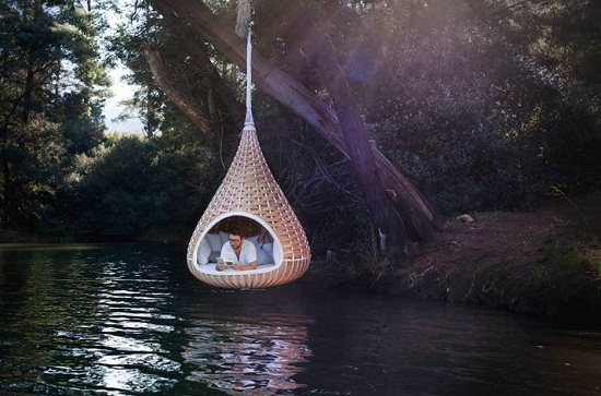 NESTREST is a hanging living room for your backyard