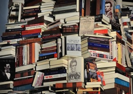 An amazing spiral tower of books on Lincoln