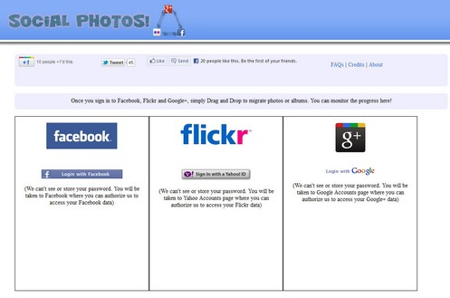 socialphotos small Social Photos lets you migrate photos or albums between Facebook, Flickr and Google+ instantly