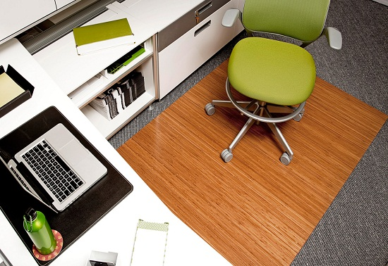 Bamboo Roll Up Office Mat keeps your cube looking snazzy