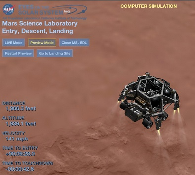 nasamarslander3 NASA simulation lets you ride along with the new Curiosity Rover Mars Lander in real time
