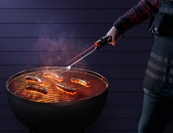 TGX Tactical BBQ Fork with flashlight & laser-sight – Because sometimes you just need something you don't really need