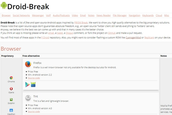 Droid-Break – free and open source alternatives to proprietary Android apps [Freeware]