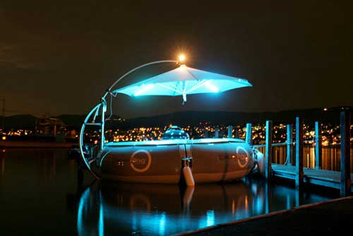 BBQ Donut Boat at night BBQ Donut Boat   Have a BBQ while on a boat, but sadly no BBQ donuts