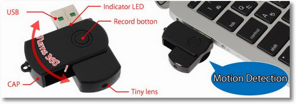 Motion Sensing Thumb Drive Camera – keeping watch when you're away from your desk