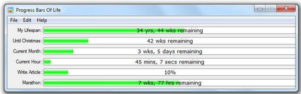 Progress Bars Of Life – cool event monitor helps you keep track of stuff in your life quickly and easily [Freeware]
