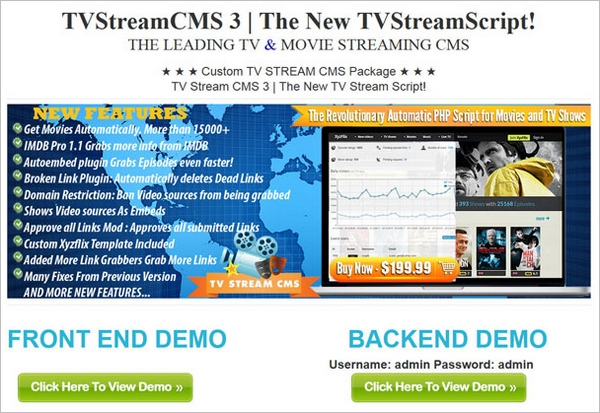 TVStreamCMS – set up your own streaming movie and TV shows site for just $199…and profit?