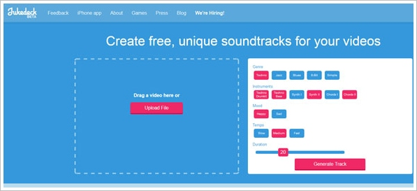 Jukedeck – create free unique soundtracks for your videos instantly