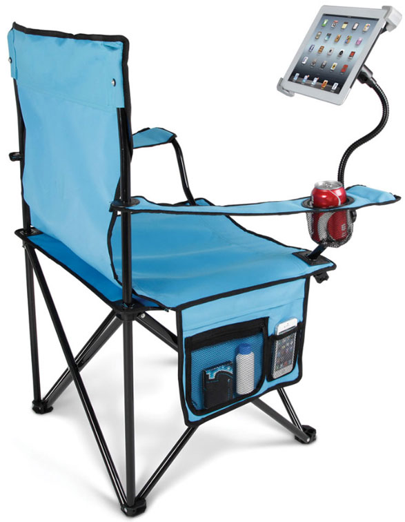 Tablet Lawn Chair – because squinting at a screen down in the basement is not good for your eyes