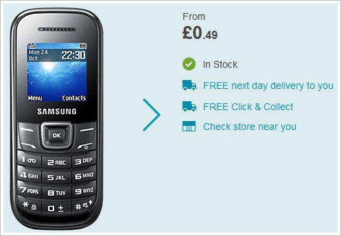 Samsung E1200 Mobile Phone – .49 pence new, 7 hours talk time, 3 weeks battery life