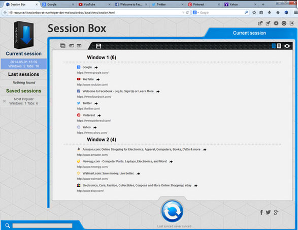 sessionbox3 Session Box   brilliant tool lets you save and sync your tabs for use on any computer anywhere [Freeware]