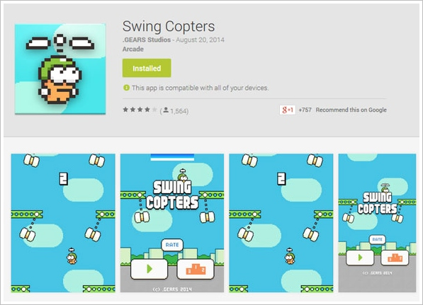 Swing Copters – Flappy Bird creator brings out another insanely hard game, world weeps with joy and frustration [Freeware]