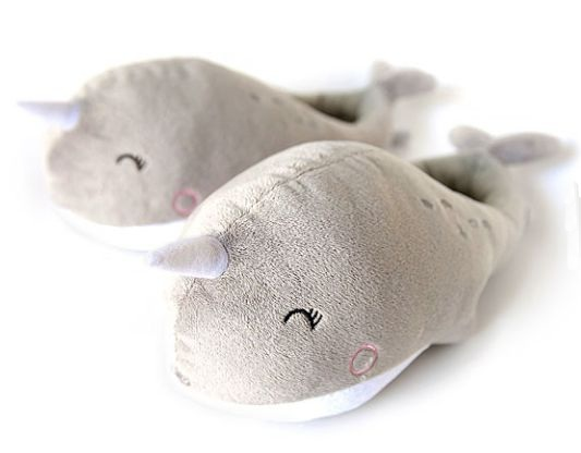 Narwhal USB Heated Plush Slippers – beating back cold weather, one cute foot at a time