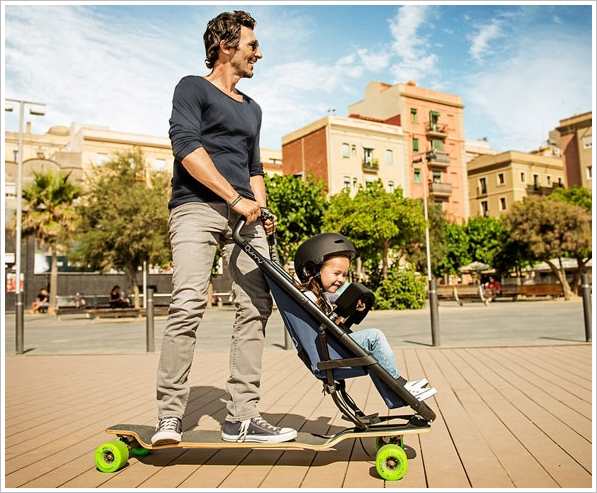Quinny Longboardstroller – totally weird but strangely logical family transport hits the streets, maybe literally…