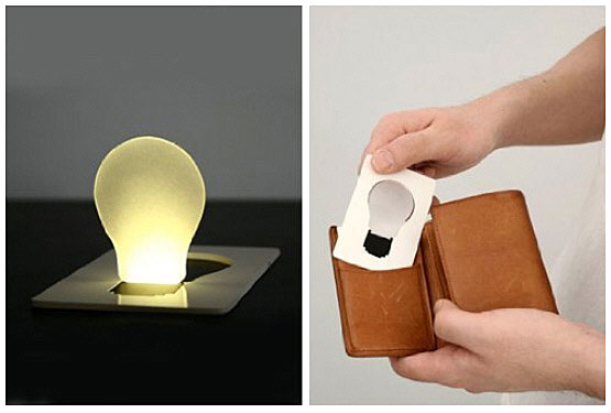 Credit Card Lightbulb – cash, ID, and illumination all in your wallet