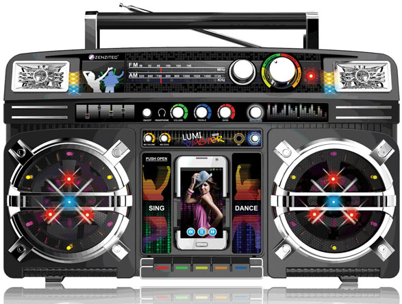Portable Retro Boombox – turn your smartphone into an 80's refugee and sparkle darling, sparkle…