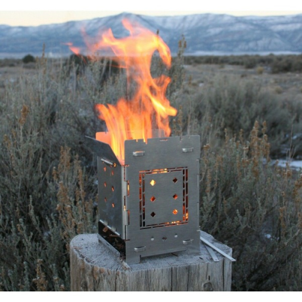 "Firebox 5"" Folding Campfire Stove – the folding stove that burns anything"