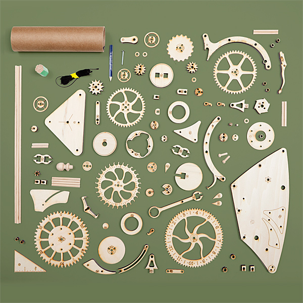 Wooden Mechnical Clock kit parts
