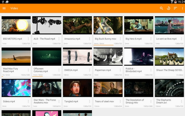 VLC for Android menu