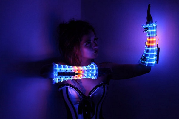 LED Costume Arm Guards in use