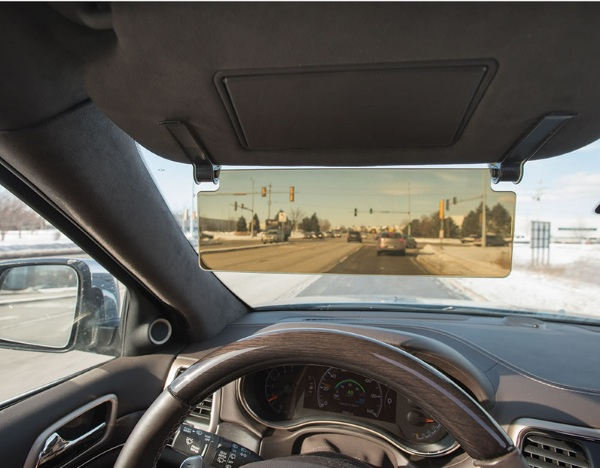 Driver's See Through Sun Visor – never forget your sunglasses again