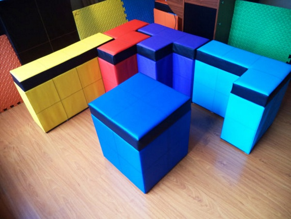 5 Piece Tetris Storage Bench Set together