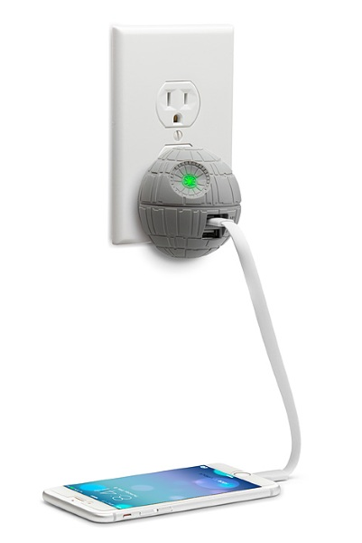 Death Star USB Wall Charger in use
