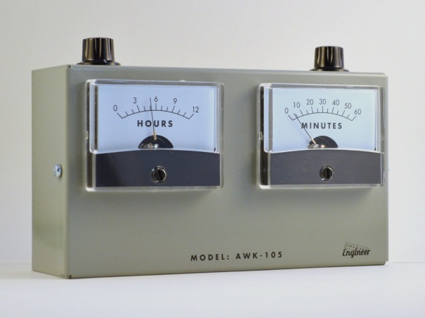 Model AWK-105 Analog Voltmeter Clock – it measures hours not electrical charges