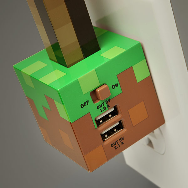 Minecraft Redstone Torch USB Wall Charger close up