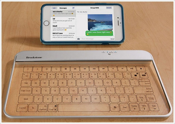 Wireless Glass Keyboard – touch sensitive Bluetooth thing glistens with shiny