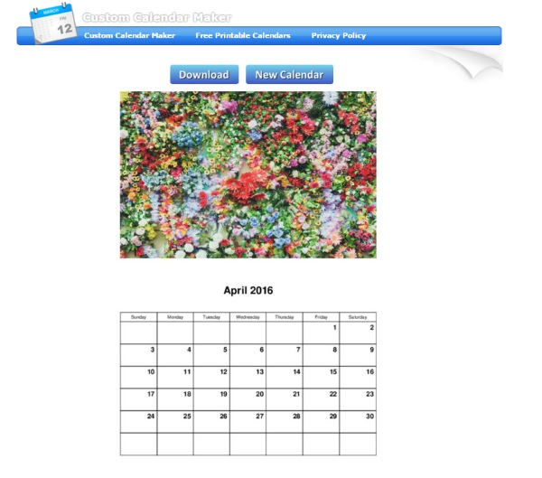 Custom Calendar Maker – print out your own monthly calendar for free
