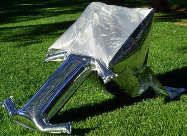 Silver Balloon Solar Cooker inflated