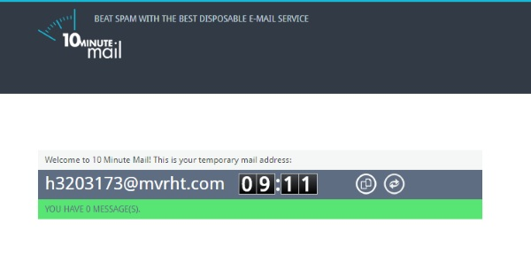 10MinuteMail – get access to websites, avoid spam