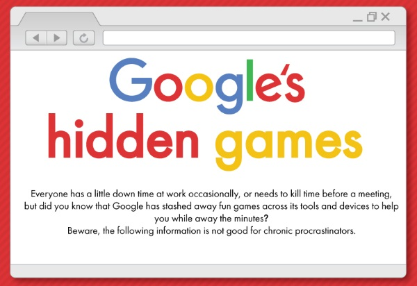 Hidden Google Games – this handy graphic shows you where to find them