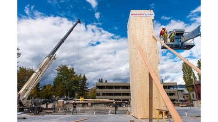 Cross Laminated Timber used in a wooden elevator will help reduce carbon emissions