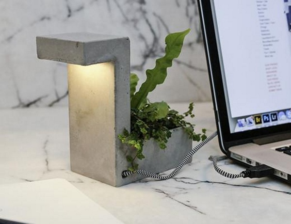 Concrete Desk Lamp – this ultra-modern lamp adds a plant to your office