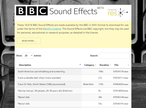 BBC Sound Effects – add a bit of pop to your next sound based project