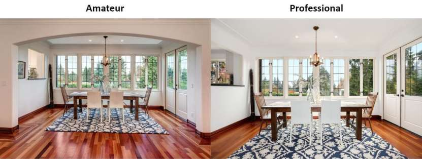 Dining room real estate photos with professional camera