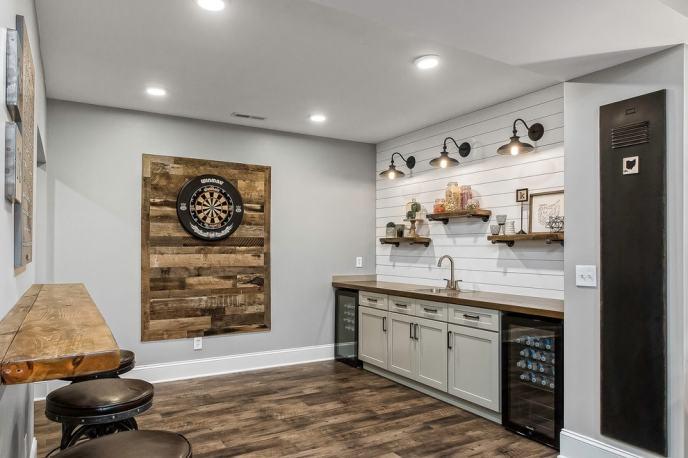 reclaimed wood home bar setup