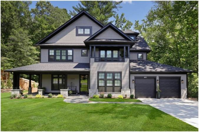 two story grey home