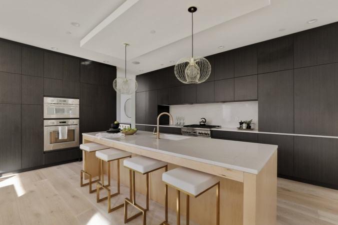 dark contrast cabinetry sleek kitchen