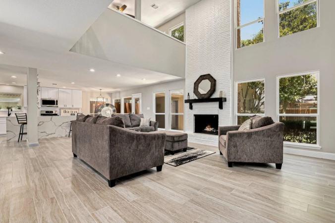 high ceilings living room