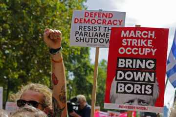 Protesters at Stop the Coup march, London, 31st August 2019. Credit: Steve Eason